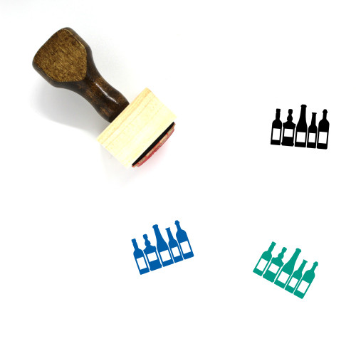 Bottles Wooden Rubber Stamp No. 12