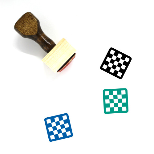 Chess Board Wooden Rubber Stamp No. 12