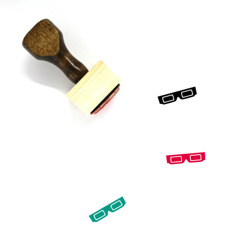 3D Glasses Wooden Rubber Stamp No. 16