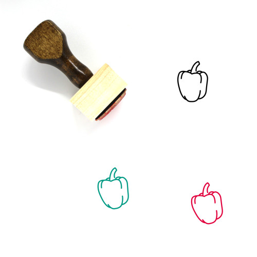 Bell Pepper Wooden Rubber Stamp No. 16