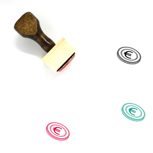 Euro Coin Wooden Rubber Stamp No. 10