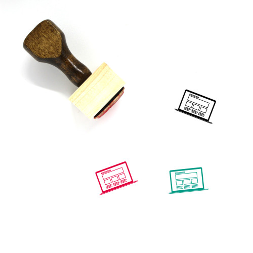 Laptop Wooden Rubber Stamp No. 82