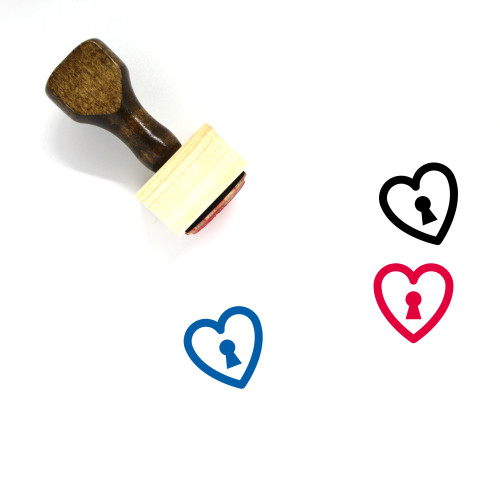 Heart Lock Wooden Rubber Stamp No. 17