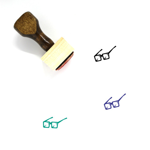 3D Glasses Wooden Rubber Stamp No. 18