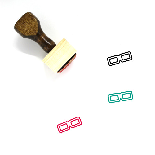 3D Glasses Wooden Rubber Stamp No. 19