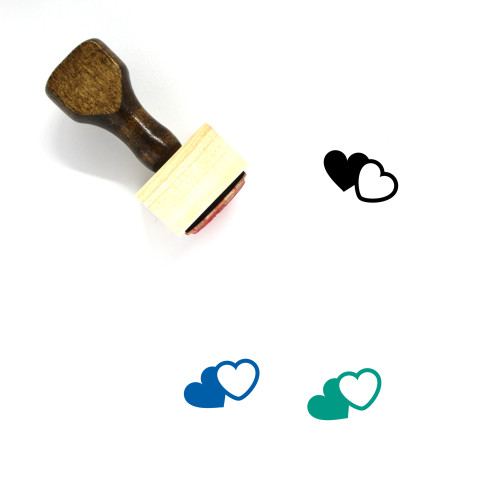 Hearts Wooden Rubber Stamp No. 230