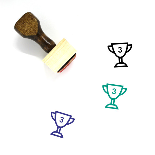 3Rd Place Trophy Wooden Rubber Stamp No. 1