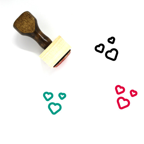 Hearts Wooden Rubber Stamp No. 235