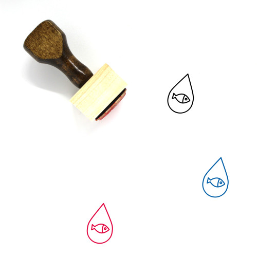 Water Droplet Fish Wooden Rubber Stamp No. 1