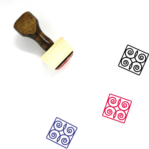 Abstract Wooden Rubber Stamp No. 14