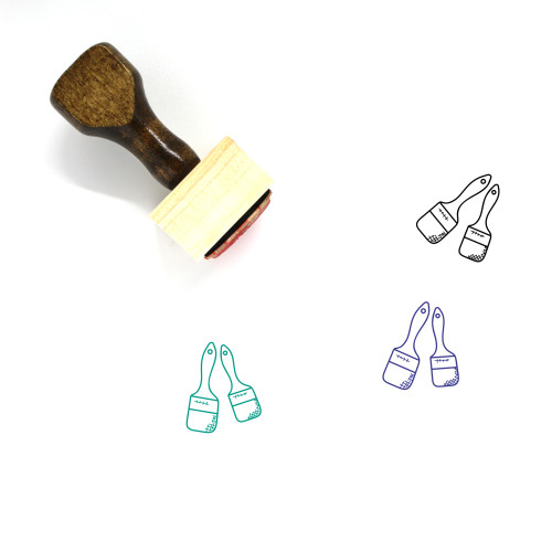 Paint Brushes Wooden Rubber Stamp No. 11