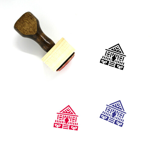 Bungalow Wooden Rubber Stamp No. 7