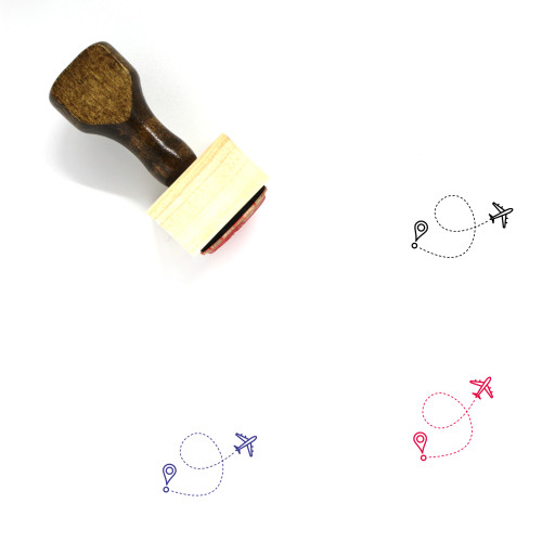 Airplane Line Path Wooden Rubber Stamp No. 1
