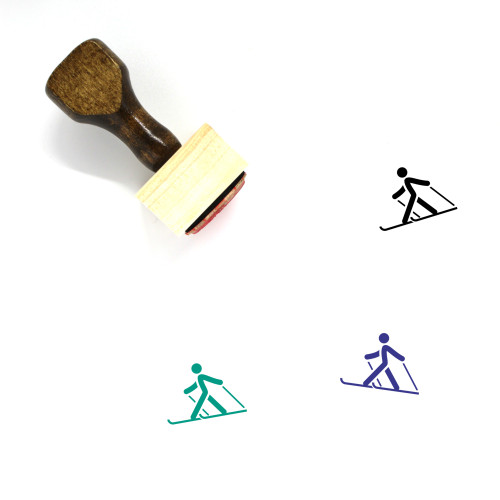 Cross Country Skiing Wooden Rubber Stamp No. 5
