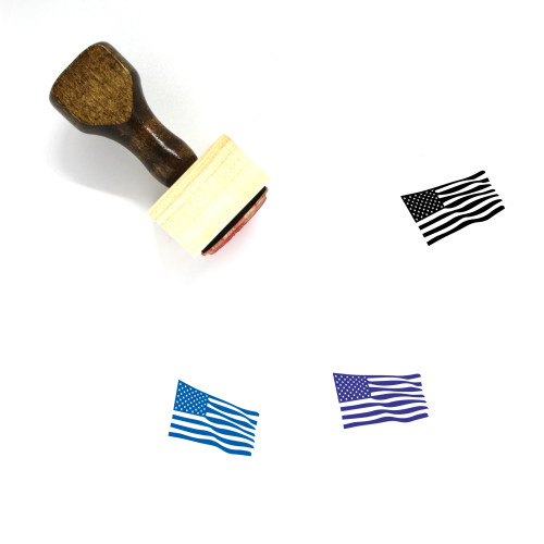 American Flag Wooden Rubber Stamp No. 28