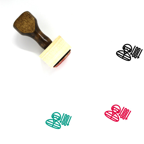 Ski Player Wooden Rubber Stamp No. 1