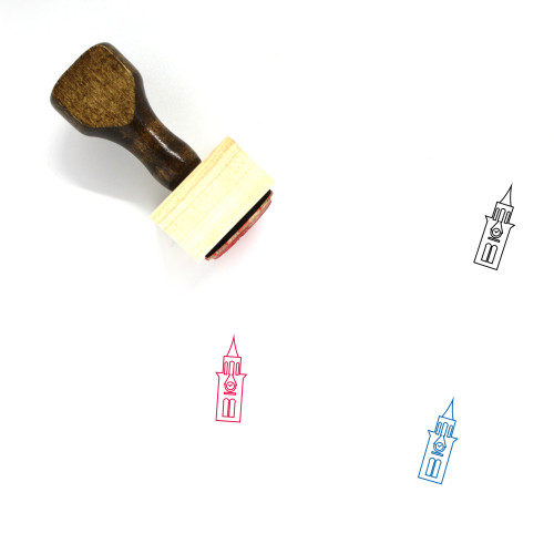 Clock Tower Wooden Rubber Stamp No. 14