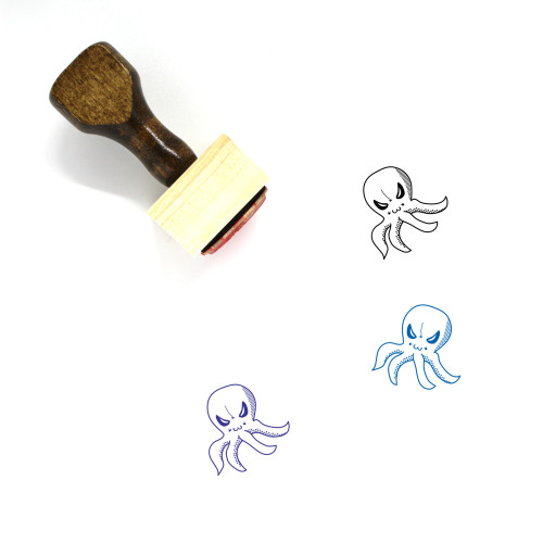 Octopus Wooden Rubber Stamp No. 47