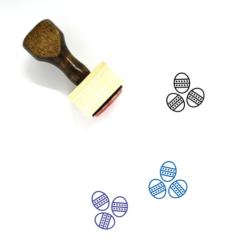 Easter Eggs Wooden Rubber Stamp No. 127