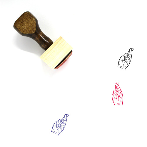 Fingers Crossed Wooden Rubber Stamp No. 14