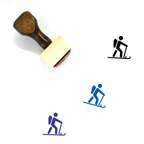 Cross Country Skiing Wooden Rubber Stamp No. 6