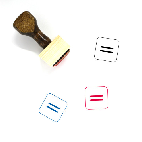 Equal Sign Wooden Rubber Stamp No. 4