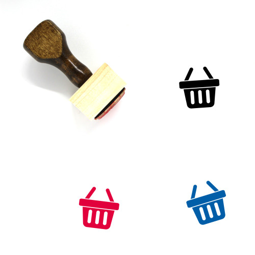 Shopping Basket Wooden Rubber Stamp No. 51