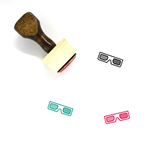 3D Glasses Wooden Rubber Stamp No. 26