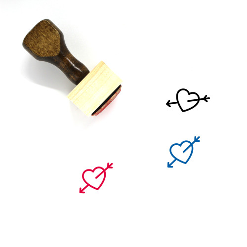 Heart And Arrow Wooden Rubber Stamp No. 13