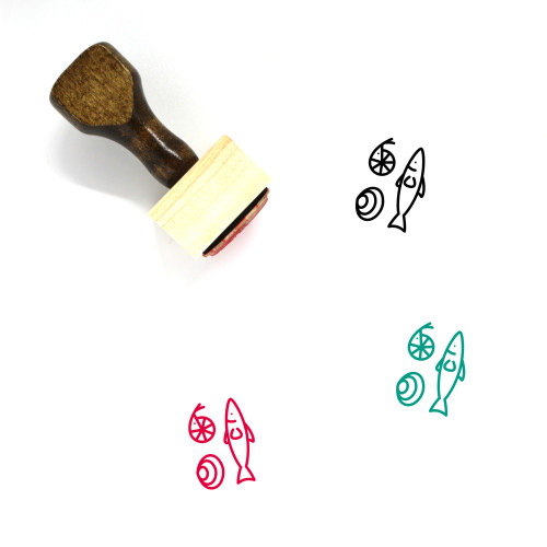 Seafood Wooden Rubber Stamp No. 37
