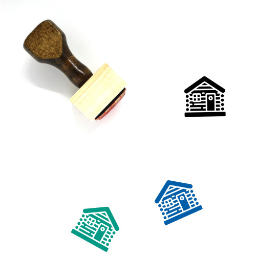 Log Cabin Wooden Rubber Stamp No. 13