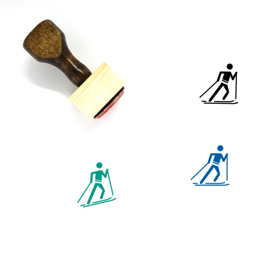 Cross Country Skiing Wooden Rubber Stamp No. 7