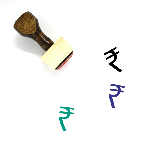 Rupee Wooden Rubber Stamp No. 41