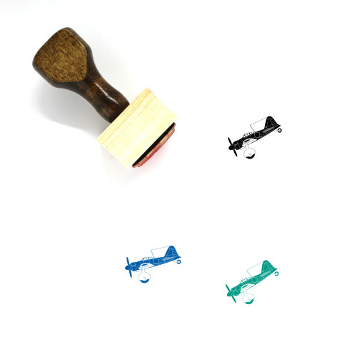 Airplane Wooden Rubber Stamp No. 38