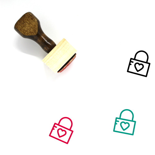 Heart Lock Wooden Rubber Stamp No. 18