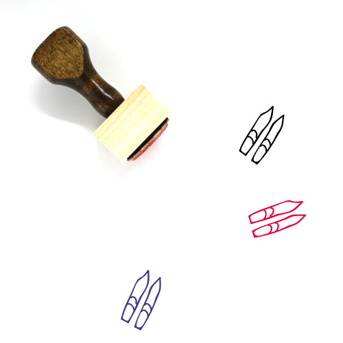 Skis Wooden Rubber Stamp No. 1
