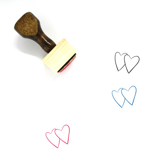 Two Hearts Wooden Rubber Stamp No. 15