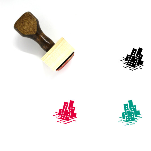 Sea Level Rise Wooden Rubber Stamp No. 1