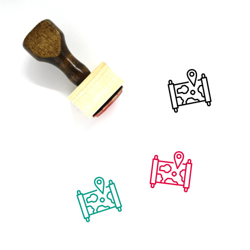 World Map Wooden Rubber Stamp No. 35