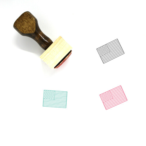 American Flag Wooden Rubber Stamp No. 12