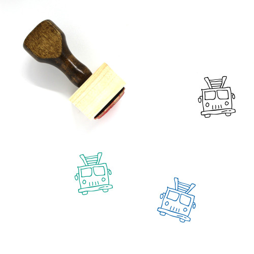 Fire Truck Wooden Rubber Stamp No. 26