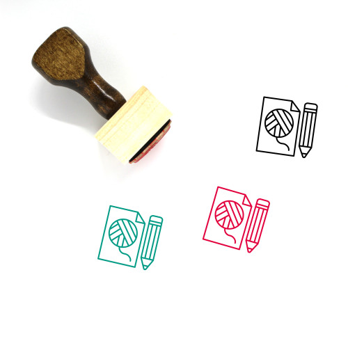 Knitting Wooden Rubber Stamp No. 8