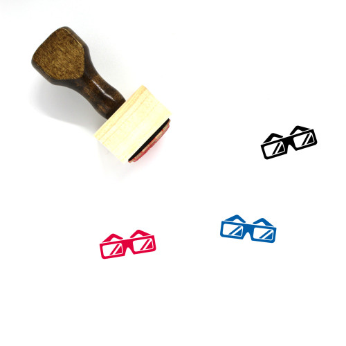 3D Glasses Wooden Rubber Stamp No. 30