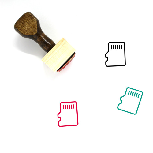 Micro Memory Card Wooden Rubber Stamp No. 1