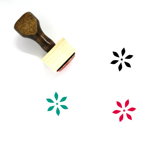 Abstract Flower Wooden Rubber Stamp No. 14