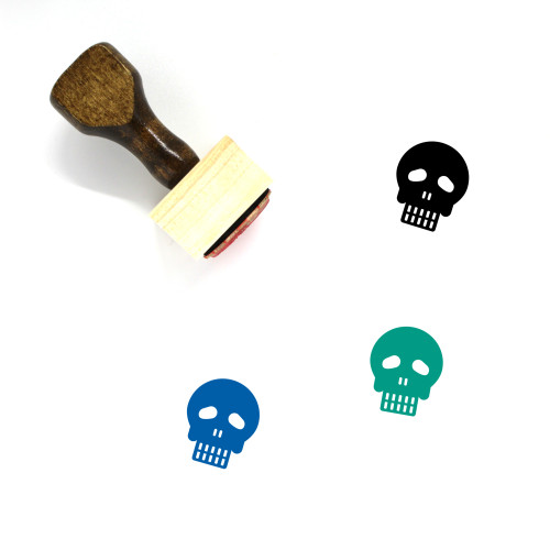 Skull Wooden Rubber Stamp No. 43