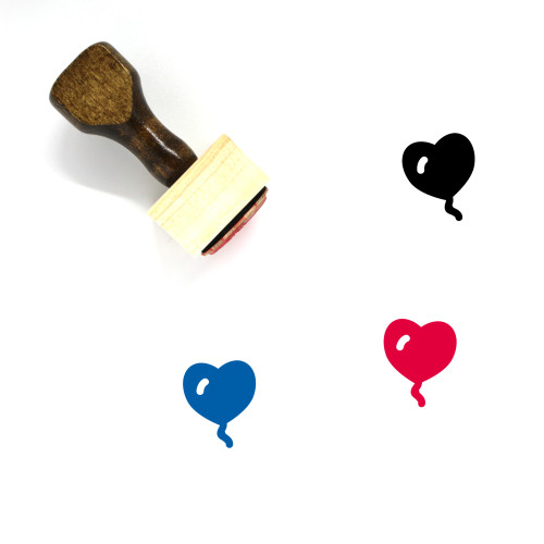 Heart Balloon Wooden Rubber Stamp No. 24