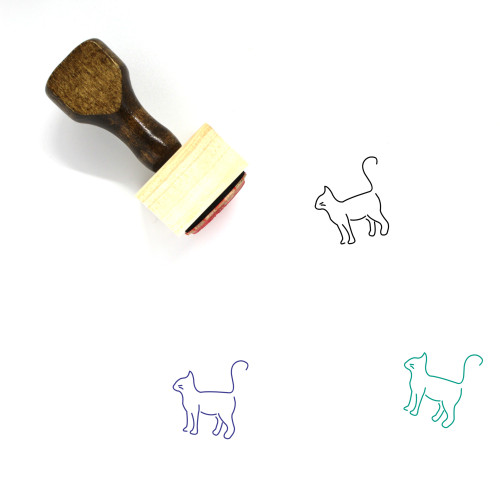 Cat Wooden Rubber Stamp No. 128