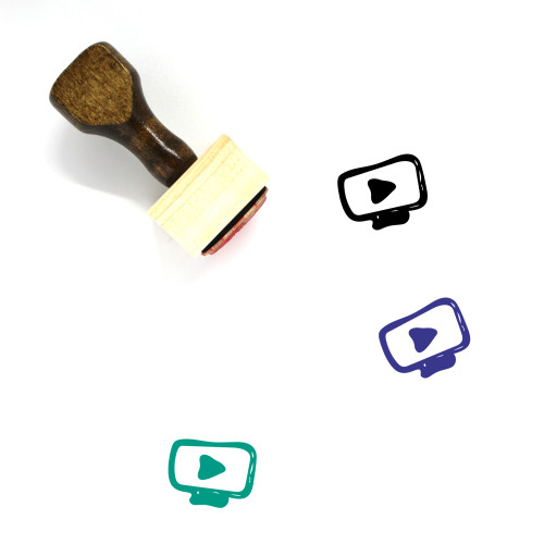 Video Player Wooden Rubber Stamp No. 13