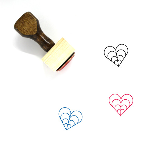 Hearts Wooden Rubber Stamp No. 256